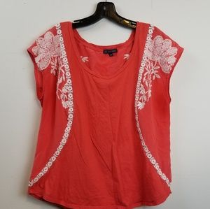 One September Anthropologie orange embroidered top